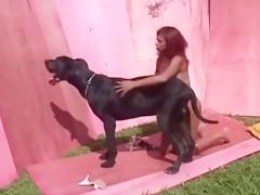 Girl takes dog cum